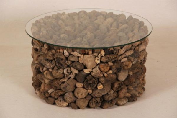 Couchtisch Driftwood Treibholz Glasplatte