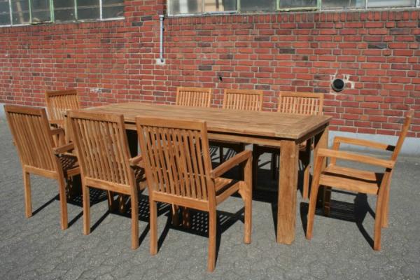 Gartenmöbel Set Teakholz 1x Tisch Kasar 8x Stuhl Stapel