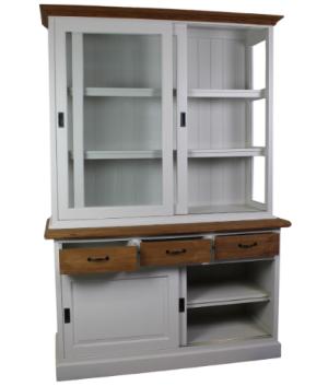 Ladenschrank weiß Teak mit Schiebetür und drei Schubladen