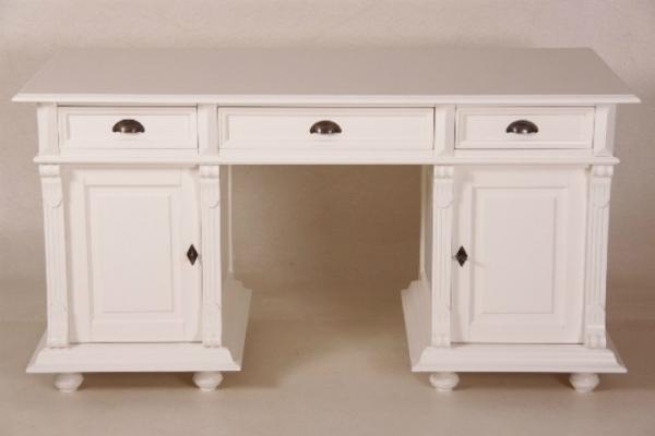 Kiefer Schreibtisch Landhausstil drei große Schubladen Weiß