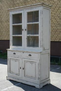 Vitrine im französischen Landhausstil Holz Teak Shabby Chic