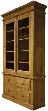 Vitrinenschrank Massivholz Vintage Teak Breite 120 oder 170 cm