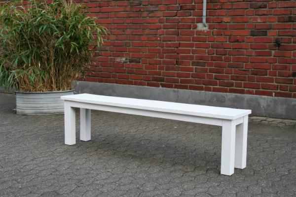 Gartenbank Kasar Teak recycelt ohne Lehne Farbe Weiss