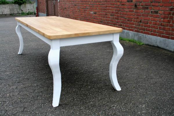 Gruenderzeit-Tisch Kiefer massiv natur weiß geschwungene Beine