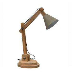 Tischlampe grau/braun Stahl und Holz
