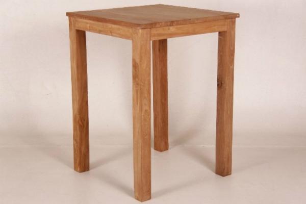 Esstisch mit Blockbeinen aus naturbelassenem Teakholz 110x80x80 cm