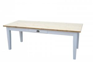 Gruenderzeit Tisch Esstisch aus Massivholz Kiefer Farbe hell Weiss