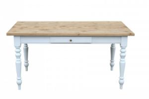 Gruenderzeit Tisch Esstisch aus Massivholz Kiefer Gestell Weiss