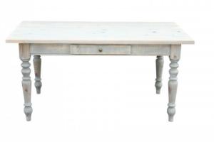 Gruenderzeit Tisch Esstisch aus Massivholz Shabby Chic Farbe Grau