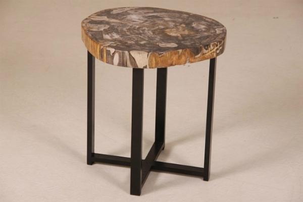 Couchtisch mit Platte aus versteinertem Holz