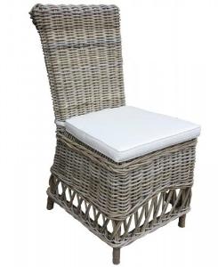 Gartenstuhl aus Rattan mit Kissen Farbe Grau Creme
