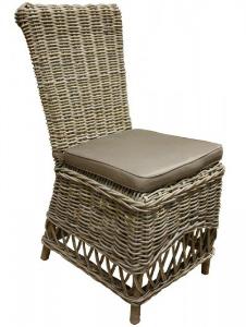 Gartenstuhl aus Rattan mit Kissen Farbe Grau Mocca