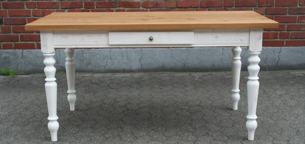 Gründerzeit Tisch Massivholz - antikbraun weiß gekalkt mit Ansteckplatten