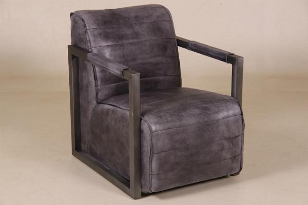 Sessel Leeds Bueffelleder schwarz verwaschen