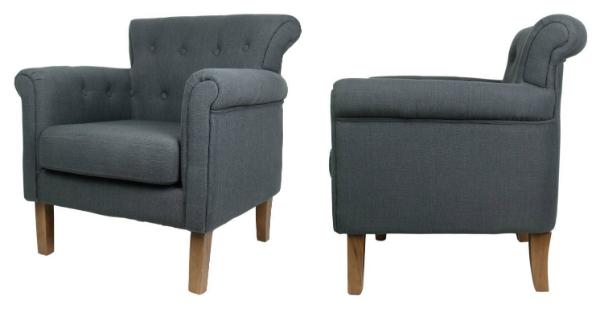 Vintage-Polsterstuhl mit konischen Beinen und gepolsterten Armlehnen hellgrau