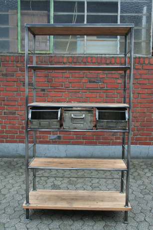 Vintage-Regal im Industriestil Weichholz massiv Metall