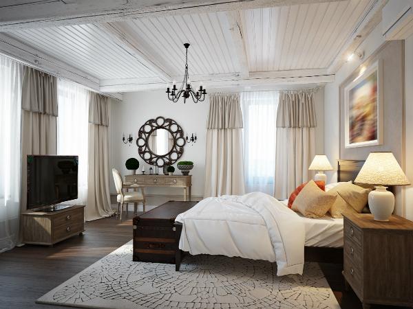 Geraeumiges Schlafzimmer im mediterranen Stil