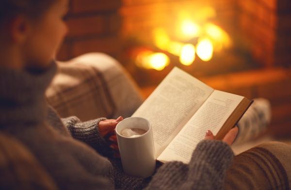 Buch vor dem Kamin lesen