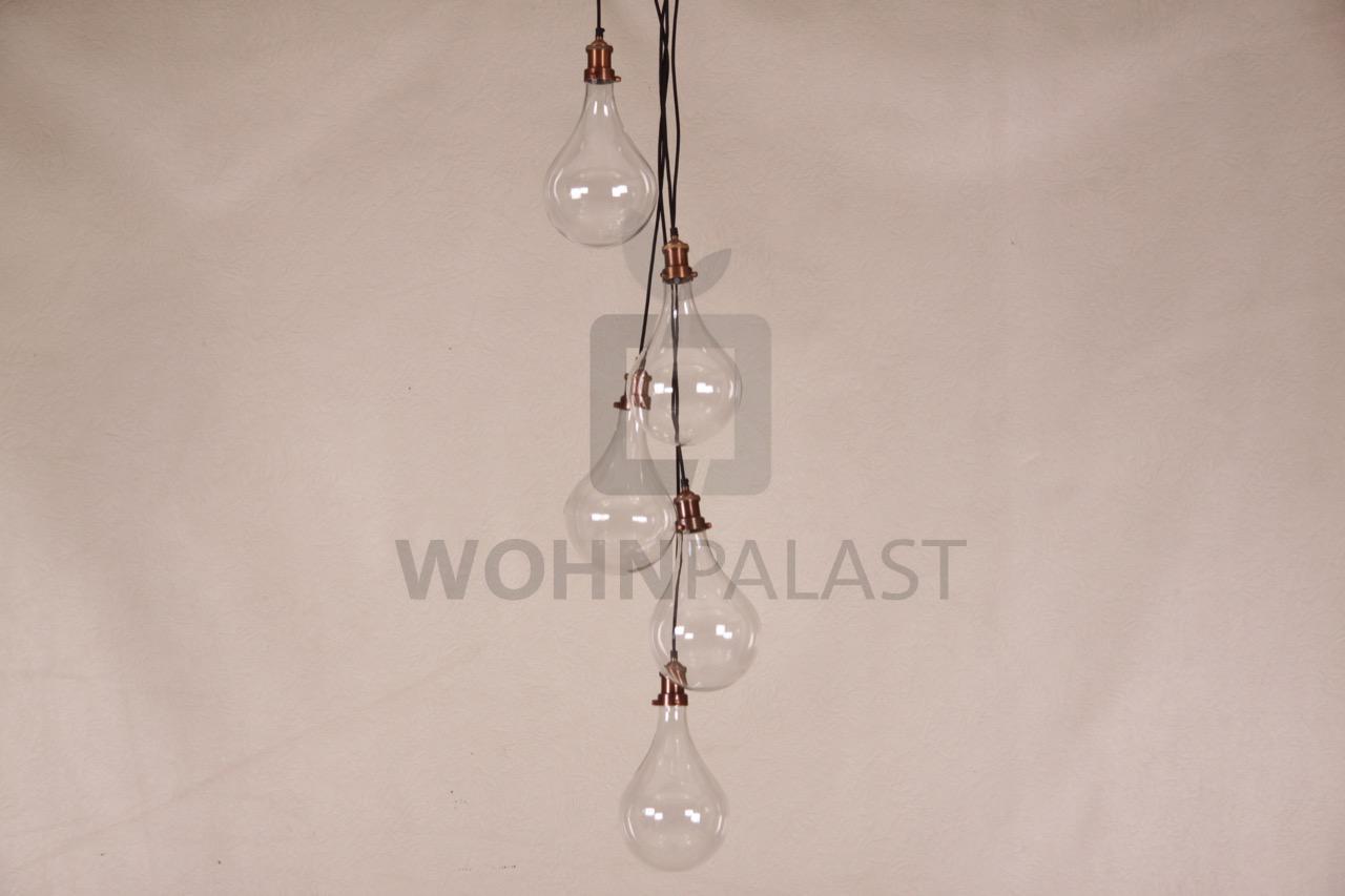 Hängelampe Quintett aus Glas und Kupfer