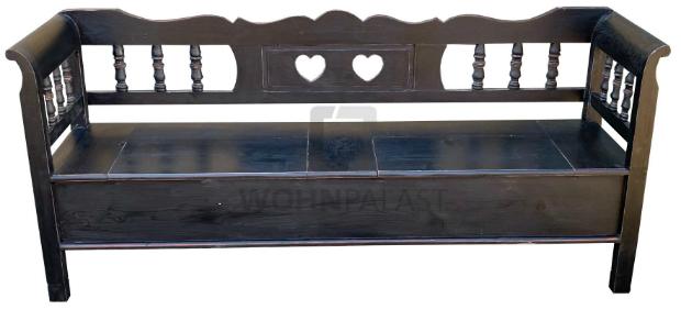 Truhen Bank Herzblatt schwarz aus massivem Weichholz