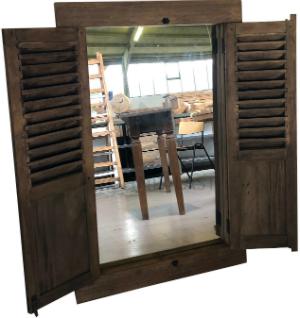 Teakholz Fensterläden mit Spiegel