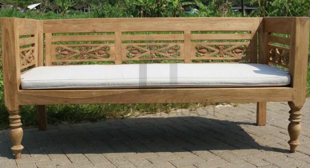 Lounge Bank Hofgarten 3 Sitzer aus recyceltem Teakholz mit Auflage