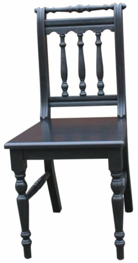 Landhaus Stuhl Massivholz schwarz