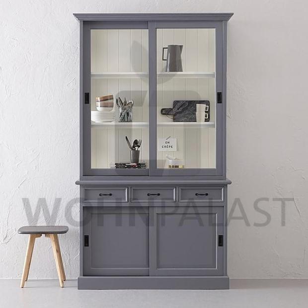 Ladenschrank Vincenza grau/weiß 125cm