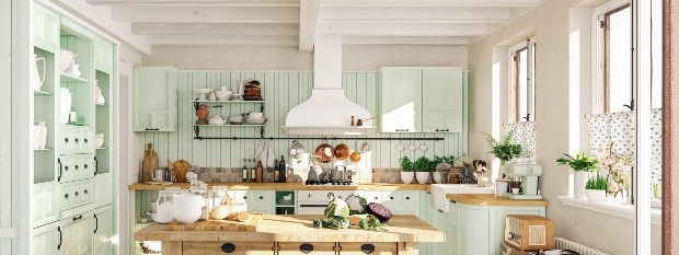 Vintageküche in Mintgrün und Weiß