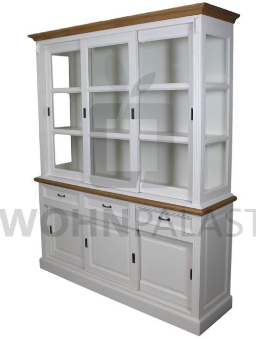 Buffetschrank Vincenza aus Massivholz - weiß/ Eiche natur 180 cm