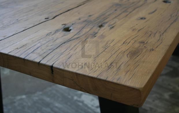 Tisch Industrie Design Eiche 220 cm - alte Balkeneiche, geölt - Eichenholz pflegen