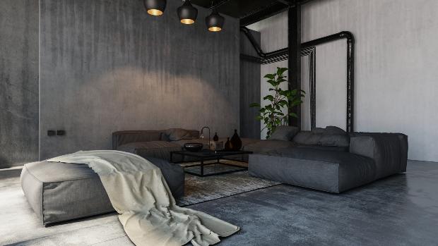 Industrial Wohnung mit Rohren
