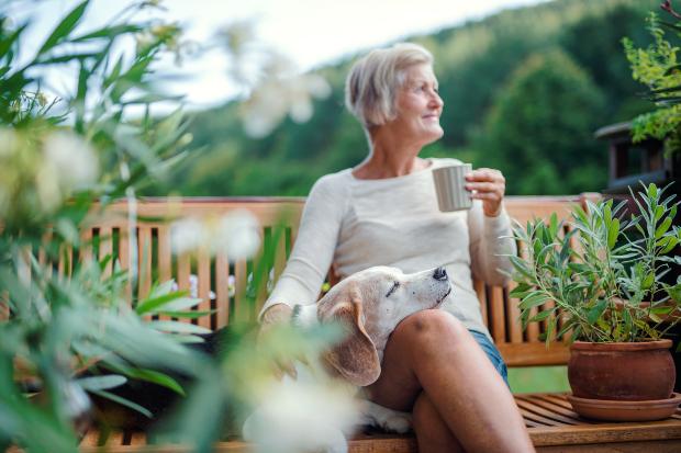 Ältere Dame sitzt mit Hund auf Bank im Garten