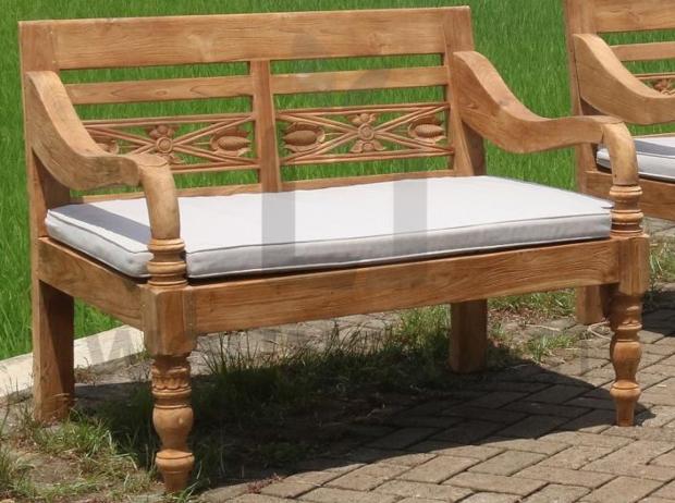 Lounge Bank Station 2 Sitzer aus recyceltem Teakholz mit Auflage