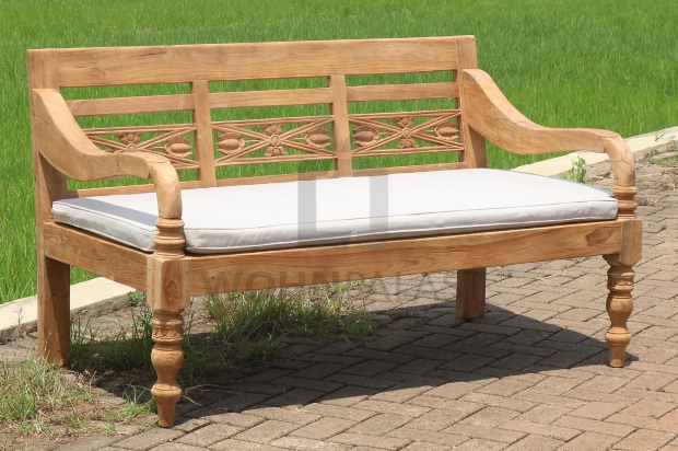 Lounge Bank Station 3 Sitzer aus recyceltem Teakholz mit Auflage