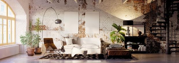 Loft mit unverputzten Wänden