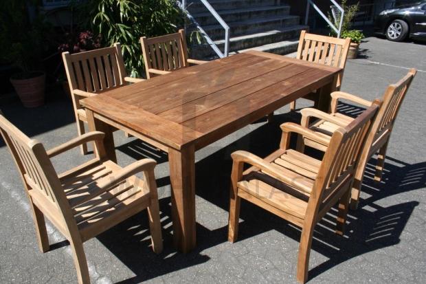 7-teiliges Teakholz Gartenmöbel Set Norderney 200 cm - Gartengruppe aus Teakholz