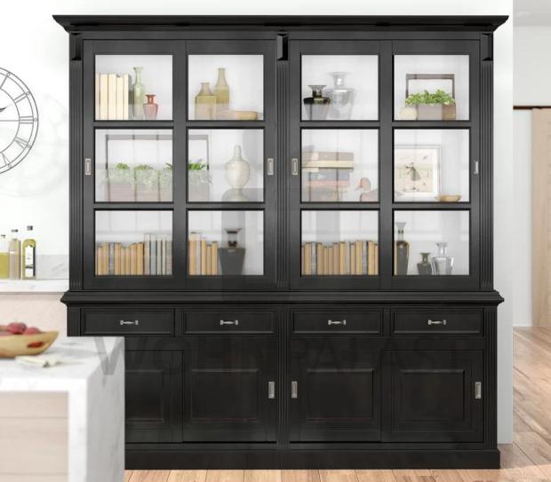 Ladenschrank Vincenza im Landhausstil 220 cm - schwarz/weiß