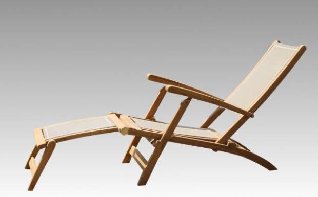 Deckchair Batyline Teakholz/Stoff - Teak-Liegen für den Garten