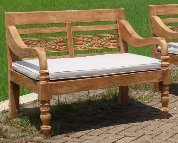 Lounge Bank mit Auflage Gartenbank Teakholz Sitzbank Garten