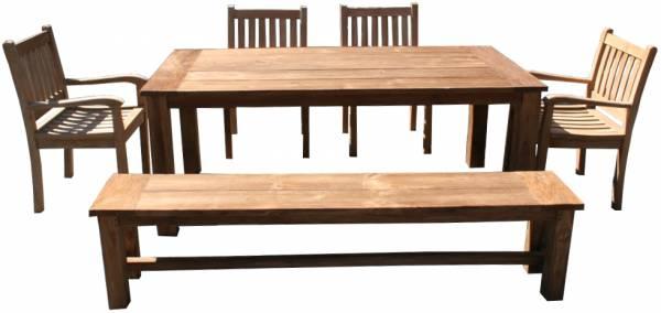6-teiliges Teakholz Gartenmoebel Set Heringsdorf Outdoor-Möbel im Landhausstil