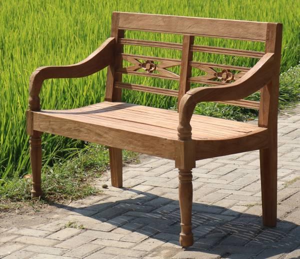Gartenbank Rustique 120 cm 2-Sitzer Teak Bank Outdoor Sitzbank Outdoor-Möbel im Landhausstil