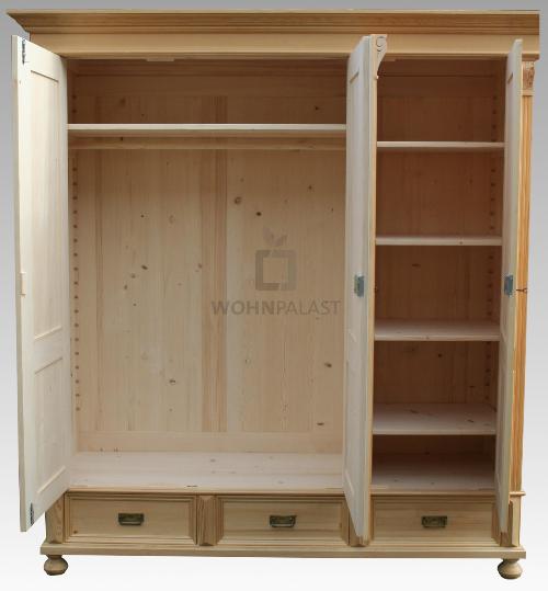 Großer Landhaus Schrank Premium Massivholz 3-Tür