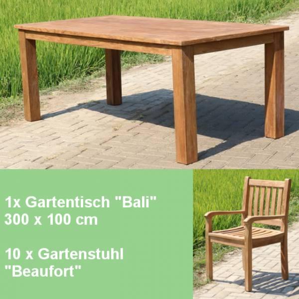 11-teiliges-teakholz-gartenmoebel-set-studland-tisch-bali-300cm-und-10-stuehle-beaufort Gartenmöbelsets für den Sommer