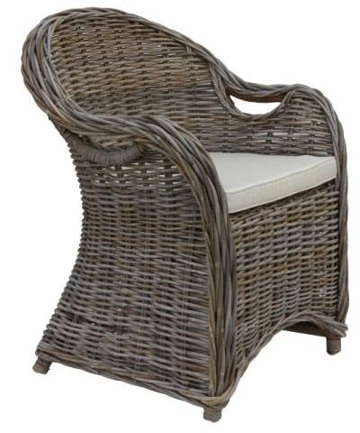 Korbsessel Parma mit Kissen Rattan Stuhl Gartenmoebel Sessel