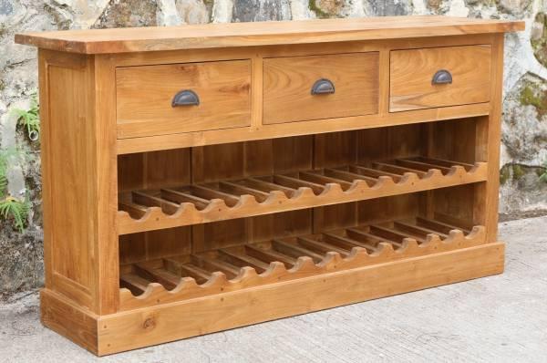 Weinregal Sideboard Bordeaux aus recyceltem Teak spirituosen-richtig-lagern