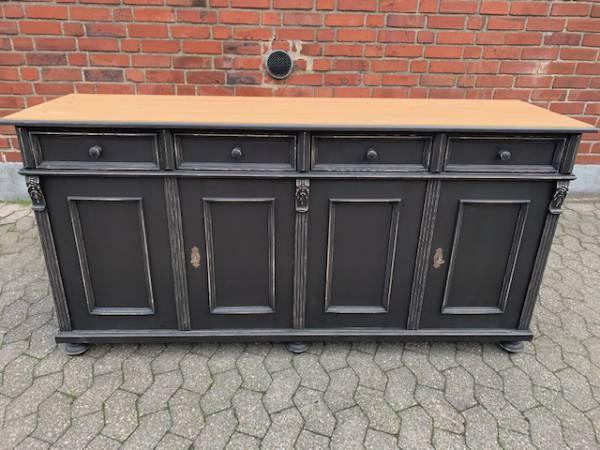 Vintage Anrichte schwarz 180cm Weichholz massiv Antike Kommoden