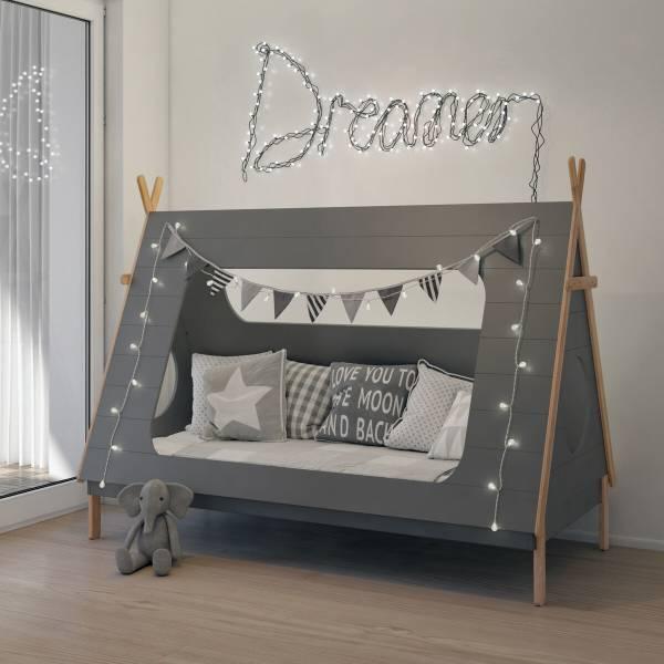 Kinderbett Zelt grau
