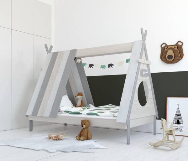 Kinderbett Zelt grau-weiß
