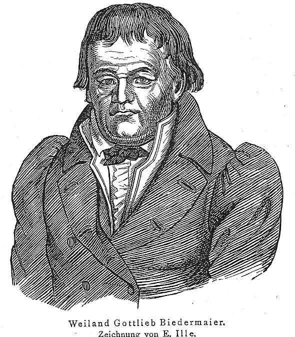Bildnis der fiktiven Figur Gottlieb Biedermeier aus den Münchener Fliegenden Blättern